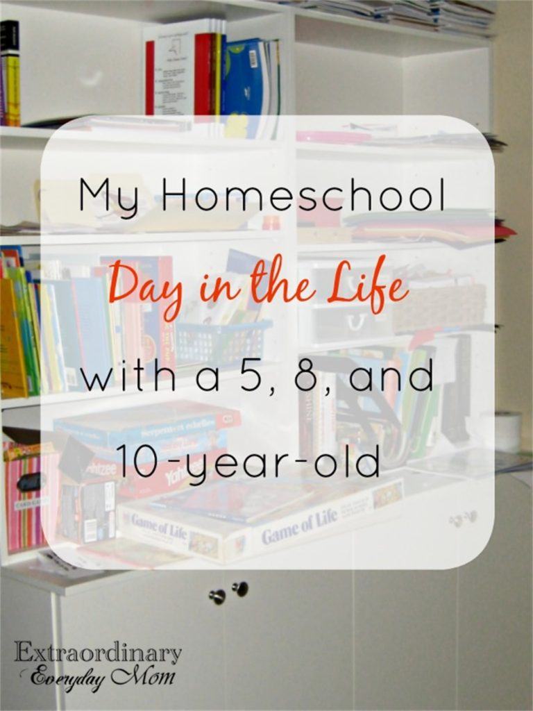 My Homeschool Day in the Life with a 5, 8, and 10-year-old